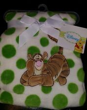"NEW DISNEY BABY WINNIE THE POOH TIGER GREEN DOTS BABY BLANKET 30"" X 40"""