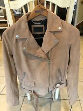 New UGG Stacey Lamb Suede Moto Jacket with Belt Camel Size XS
