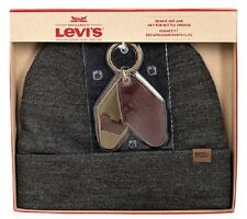 Levi's Gray 41LV37005 Beanie Hat & Brown Leather Key Fob Bottle Opener 2-pc Set