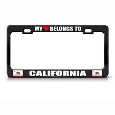 My Love Belongs To California Black Metal License Plate Frame Tag Holder