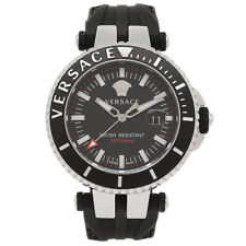 Versace Men 'V-Race' Swiss Quartz Stainless Steel Silicone Watch,Black,VAK010016