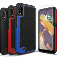 For LG K22 / K22 Plus Case, Shockproof Armor Cover + Tempered Glass Protector