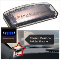 Car Solar Charger LED Car Anti-theft Alarm Warning Blue Light Sensor Security 1X