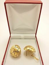 18k Solid Yellow Gold Italian Luxury Perforated Earrings 10.87 Grams