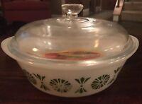 Glasbake 2 quart Casserole Dish W/lid Green Daisy Spring Blossom VintageJ514
