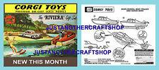 Corgi Toys GS 31 Buick Riviera Boat Gift Set Instruction Leaflet & Poster Sign