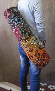 Indian Yoga Mat Tote Gym Bag Handmade Strap Shoulder Adjustable Exercise Cotton