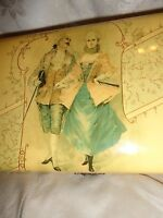 ANTIQUE VICTORIAN FRENCH COURTING COUPLE PASTEL LITHO CELLULOID DRESSER BOX