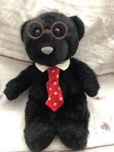 "Hallmark Heartline Vintage Plush Black Teddy Bear Father Dad Glasses Tie 9"""
