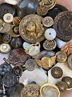 Large Lot Of Antique Vintage Buttons 100+ Metal Picture Black Glass Mop Etc L2
