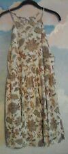 Wishlist Summer dress in 80%Cotton 20% Rayon in Cream w/Brown pattern, L