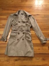 Bebe Satin Trench Coat Beige Tan Lined With Belt Adjustable Wrist Strap Size XS
