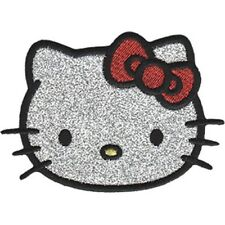 HELLO KITTY - GLITTER - EMBROIDERED PATCH - BRAND NEW - 0028
