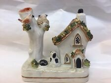 ANTIQUE STAFFORDSHIRE PASTILLE COTTAGE DOG BIRDS TEXTURED  FLOWERS