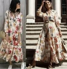 Zara Floral Print Dress Flowing Shirt Collar Midi Ecru 2800/985 Small S