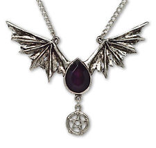 Gothic Bat Wings with Pentacle and Black Stone Pendant Necklace NK-501B