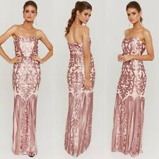 Gorgeous Size 12 Sequins Pink Boob Tube  Wedding Formal Gown