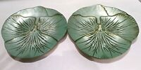 Art Glass Luncheon Plates, Decorative Glass Plates, Green and Gold Art Nouveau