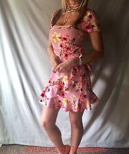 Mujer Estampado Floral Manga Corta Cuello Cuadrado Volantes Detalle Mini Sol De