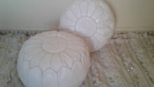 Pair (2) of NEW Luxury Moroccan Leather Ottoman Pouffe Pouf Footstool In White