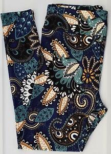 TC LuLaRoe Tall & Curvy Leggings Paisley Floral Teal Blue Black White NWT E28