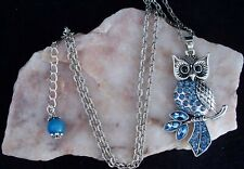 Beautiful Blue Glass Diamante Owl Pendant Chain Necklace.Handmade In Gift Box