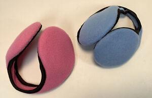 2 Sets of Blue and Pink Women's Winter Fleece Earmuffs Black Edging