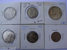 Greece Grece , 1, 2, 10, 20, 30 Drachma SILVER ,20 lepta  1868, 1883, 1930, 1963