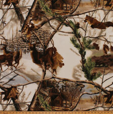Realtree Winter Camo Fox Deer Cabin Fleece Fabric Print by the Yard A505.19