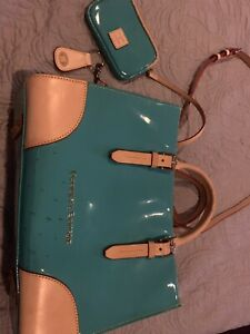 DOONEY & BOURKE Teal Patent Leather w/ leather trim Satchel Bag