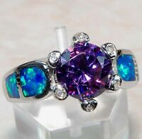 2CT Amethyst & Australian Opal Inlay 925 Sterling Silver Ring Jewelry Sz 7, OR-1