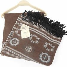 NIDO NOTTE ITALY Southwestern THROW BLANKET NWT Brown Grey Black Ivory AZTEC