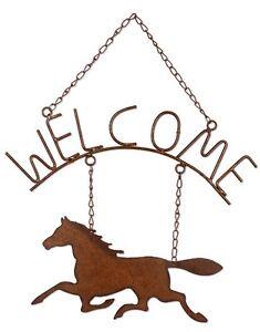 Horsing Around Welcome Sign Decor Western Horse Rustic Metal Indoor Outdoor New