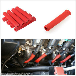 8 Pcs Red 15cm Length Car 1200° Spark Plug Wire Boot Heat Sleeve Protector Cover