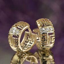 18k white yellow gold gf made with swarovski crystal huggies filigree earrings