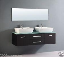 Bathroom Cabinet DOUBLE basin with glass top bench. luxury design Vanity J-0003