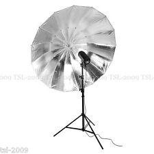 """150cm 59"""" Grande Nero/Argento Studio PRO Ombrello Mega Brolly Qualità Un"""