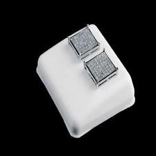 New 14K White Gold Finish White Lab Simulated Diamond Square Stud Earring 12 mm