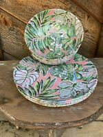 Tommy Bahama 8 Pc Melamine Pink Palm Leaves 4 Dinner Plates + 4 Bowls New