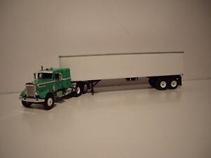 FIRST GEAR DCP 1/64 GREEN AND WHITE PETE 351 WITH SLEEPER AND DRY VAN TRAILER
