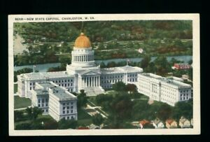 Postcard New state capital in Charleston West Virginia aerial view 1935. J2