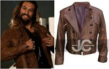 Justice league Aquaman Brown Distressed Leather Jacket