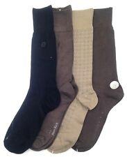$42 Perry Ellis Men'S 4 Pair Pack Soft Crew Dress Socks Black Brown Shoe 7-12