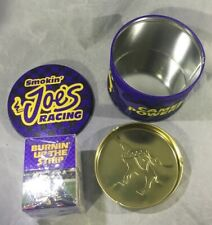 Smokin' Joe's Racing Round Tin  10 Boxes Matches & Ashtray Camel Powered