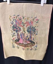 Vintage Petite Point Needlepoint Canvas Tapestry Renaissance (a)