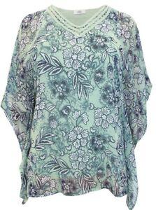 Gina Benotti Floral Print Lined Kaftan Sleeve Top Size XXL 26/28 New in Bag