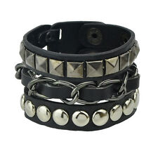 Black Faux Leather Stud & Chain Bracelet Wristband - Punk Goth Biker Emo Rocker