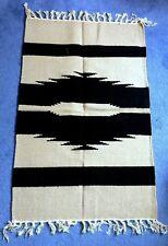 100% Cotton Rug, 93x60cm, Fairtrade, Handmade, Washable - Black & Off white