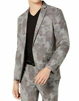 INC Mens Blazer Gray Size Large L Camo Plaid Print Slim Fit Two-Button $129 #153