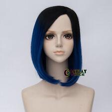 Heat Resistant Dark Blue Mix Black 40cm Medium Women Straight Cosplay Wigs+Cap